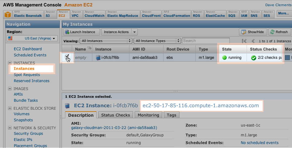 AWS EC2 instances list; click to enlarge