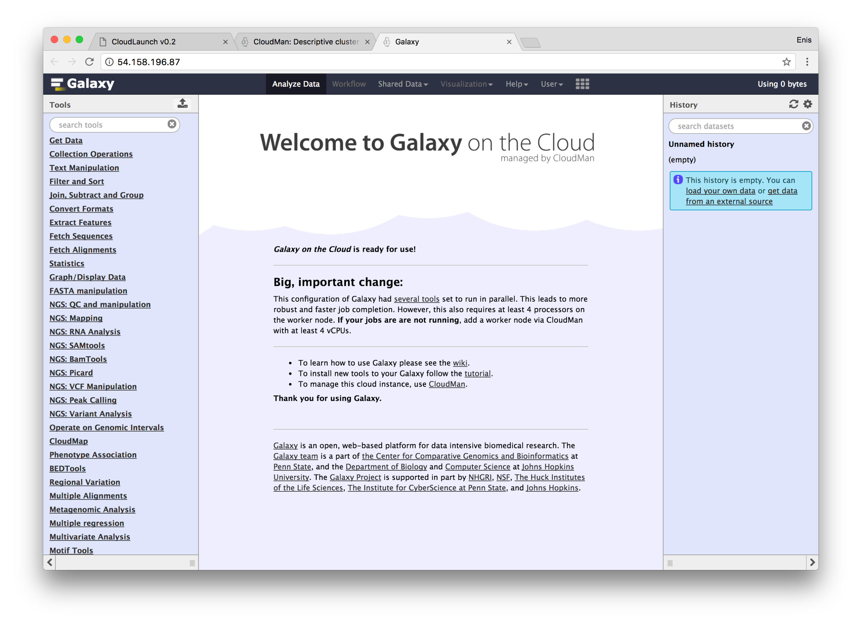 Getting Started with Galaxy on the Cloud