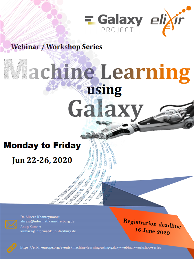 Workshop Flier for Machine Learning Using Galaxy Workshop this month. Register by June 16.