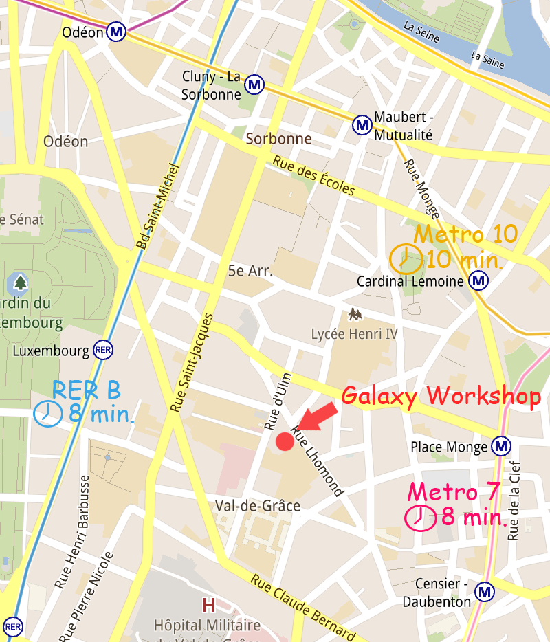 Paris Workshop location and nearby Metro and RER stations. Click to enlarge.