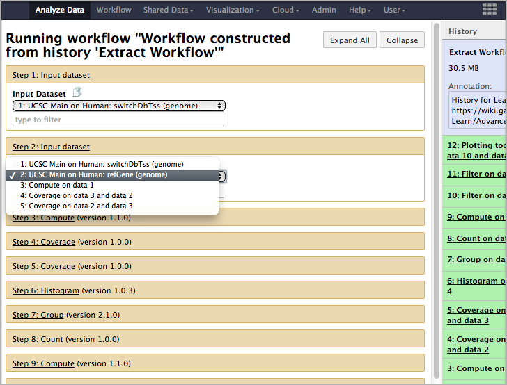 workflow select inputs