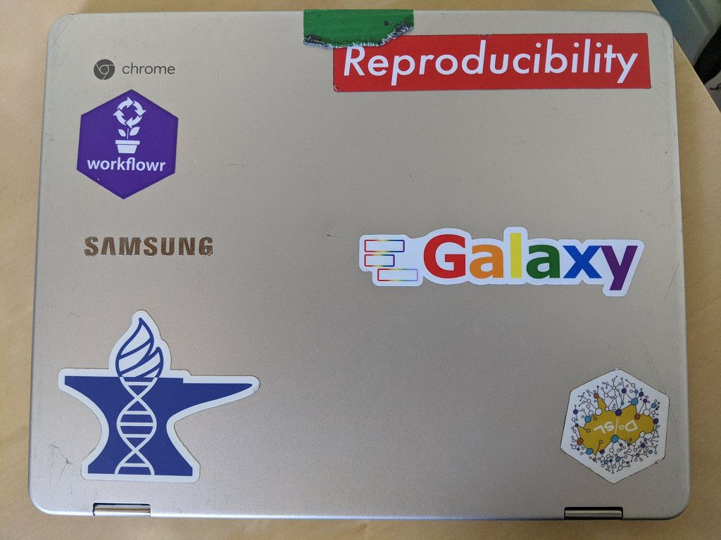 Jeff Leek's laptop stickers: 60% James and Company