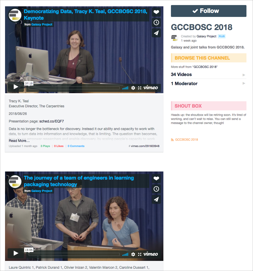 Galaxy and joint talks are available on Vimeo and are linked to from their conference pages