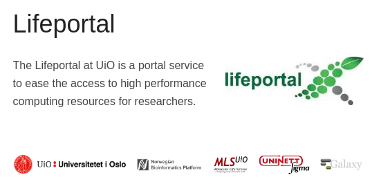 Lifeportal at University of Oslo
